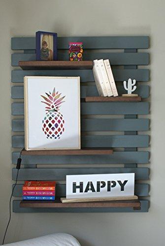 Liza line libreria da parete bicolore stile vintage, libreria a giorno con 4 ripiani regolabili in vero pino massello, ideale per corridoio, cucina, salotto, bagno, camera. 101x80x21 cm (grigio / noce marrone)