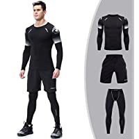 Men's Compression Set T-shirt Sports Shorts Long Tights Fitness Clothing Sets for Outdoor and Gym
