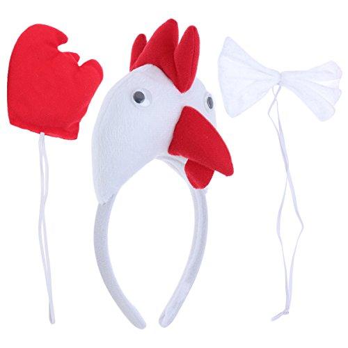 BESTOYARD Kinder Kostüme Huhn Kopf Stirnband Tier Schwanz Fliege für Cosplay Halloween Party Favors 3 Stück (Weiß)