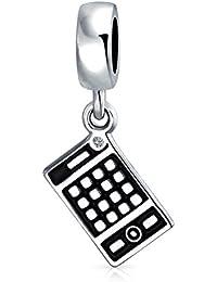 Sterling Silver Esmalte Calculadora de cristal cuelgan el encanto del cordón