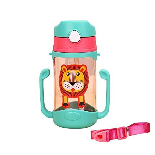 JP0SDD 400 ml de biberón de silicona Los niños aprenden a beber tazas Tazas rebotadoras Manijas Correas Dibujos animados Bebé Manija de agua potable, Bl
