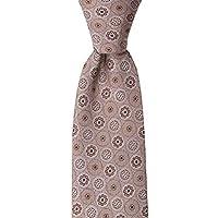 Kahverengi Çiçek Desenli Bej Kravat