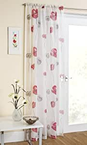 "Red/Grey Poppy Design Sheer Voile Curtain Panel 59"" x 54"""