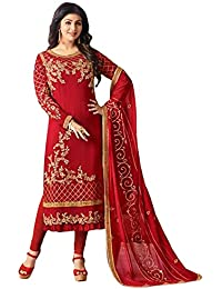 ee92b16998 cloudbox Women's Georgette Unstitched Salwar Suit Material (Red, Free Size)