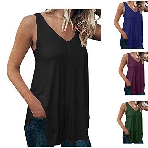 14e9a6f7b64 Dorical Camiseta De Mujer Blusa Chalecos Moda De Verano Causal Simple  Tallas Grandes Color Sólido Escote