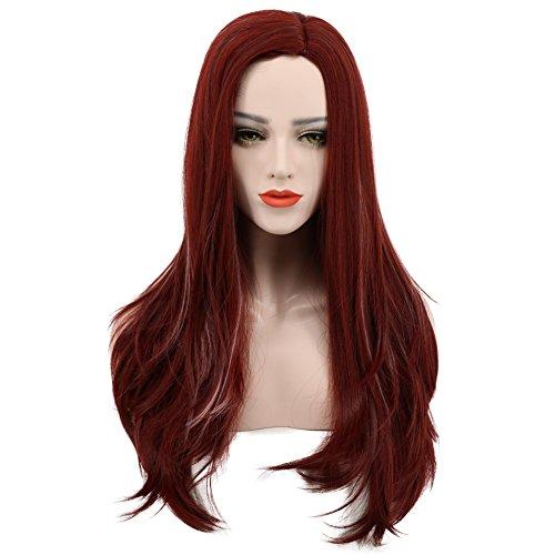 karlery Damen Long Wave Dark Rot Perücke Halloween Cosplay Perücke Kostüm Party - Xmen Damen Kostüm