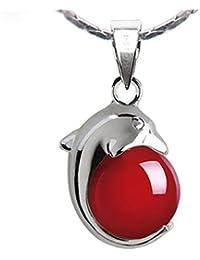 DRSMDR Collar de Plata Esterlina 925 para Mujer, Alicates Granate con Cuentas de Delfines Y