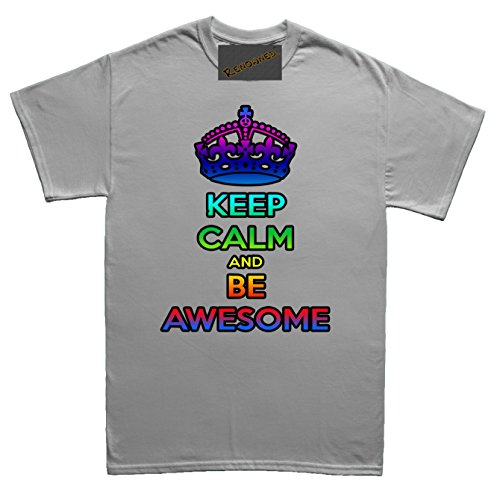 Renowned Keep calm and be awesome Damen T Shirt Grau