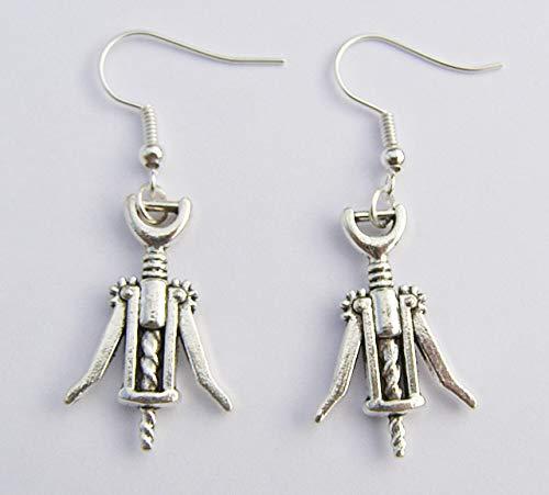 Corkscrew Party Earrings, Silver Hooks, 2.7 cm Drop Hand Made -