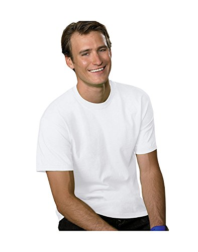 Hanes Mens Double-Needle Stitched Sleeves ComfortSoft Cotton Tee White