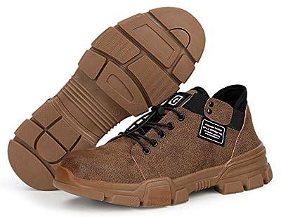 tqgold S3 Sicherheitsschuhe Herren Damen Arbeitsschuhe Wasserdichtes Leder Schutzschuhe mit Stahlkappe Sportlich Leichtgewicht Breathable rutschfeste Schuhe mit Sehnensohle
