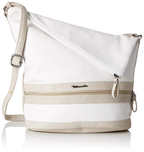 Tamaris Damen Smirne Hobo Bag Schultertasche, Weiß (White Comb), 15.5x28x28 cm