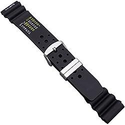 """Uhrbanddealer 20mm Ersatzband Uhrenarmband Schwarz """"Taucher PU"""" Kunststoffband, ND Limits typ,mit Edelstahlschlaufen"""