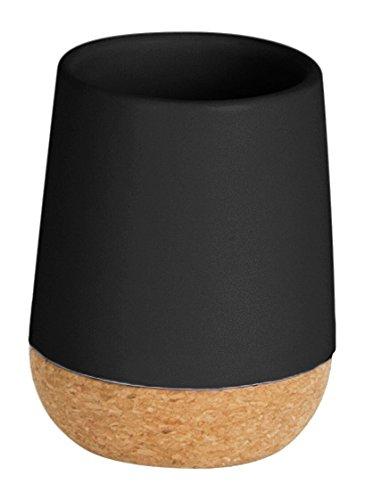 Umbra 023860-040 Kera Zahnputzbecher aus Keramik mit Korkboden, schwarz