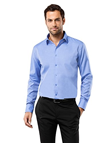 Vb - camicia da uomo regular fit no stiro Uni Blue 42