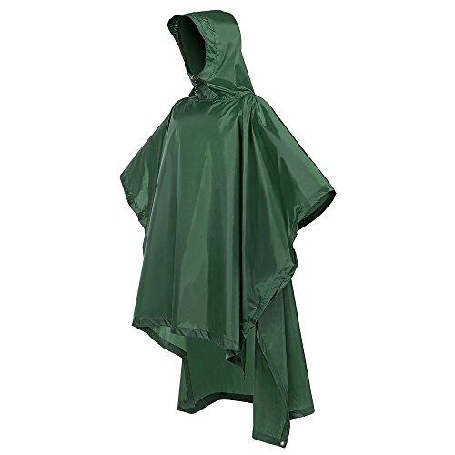 Terra Hiker Regenponcho, Fahrrad Regencape, Regenmantel zum Camping Wandern (Armeegrün)