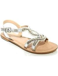 L11226Sl - Sandales en cuir ornées de perles - style gladiateur
