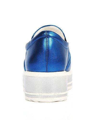ZQ gyht Scarpe Donna - Mocassini - Tempo libero / Casual - Punta arrotondata - Piatto - Finta pelle - Blu / Argento , silver-us8 / eu39 / uk6 / cn39 , silver-us8 / eu39 / uk6 / cn39 blue-us5.5 / eu36 / uk3.5 / cn35