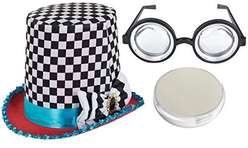Labreeze Erwachsenen-Ofenrohr Hutmacher Hut Nerd Brille Gesichtsfarbe Wunderland Kostüm