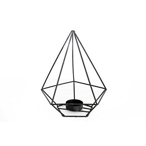 Bougeoir style Triangle - H. 19 cm - Noir