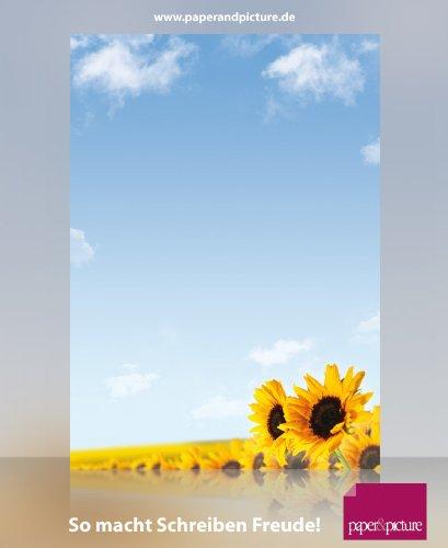 Blumen Briefpapier-Set Sonnenblumen, 100-teilig mit 50 Blatt Motivpapier DIN A4, 90g/qm und 50...