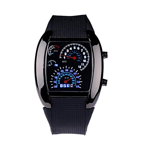 Orologio da polso, JiaMeng ❀ Orologio aviazione Moda Aviation Turbo Dial Flash Vigilanza del regalo Mens Lady LED Sports Car Meter (M, C)