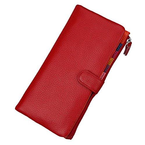 DcSpring Portafoglio in Vera Pelle Porta carte di credito Lungo Portamonete Elegante Pochette Grande Capacità Cerniera per Donna (Nero) Rosso