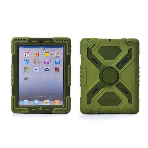 Hot Neu Ipad Air/5 Fall-Silikon-Kunststoff-Kid Proof Extreme Duty-Dual-Protective Schutzhülle mit kickstand und Aufkleber für iPad - Regenfest Staubdichte Stoßfest (olive)