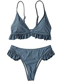 d820ed2af1dfbf ZAFUL Bikini Set Einfarbige Bikinis mit Volants Spaghettiträger Gepolstert  Triangel Swimsuit Bikini-Set