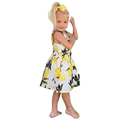2004 Langarm-t-shirt (HUIHUI Kleid Mädchen, Toddler Mädchen Kleid Ärmellose Zitrone Drucken Sommerkleid Party Prinzessin Dress Casual T-Shirt Kleid Frühlings Herbst Cocktailkleid (90 (12-18M), Gelb))