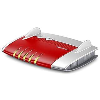 AVM FRITZ!Box 4020 WLAN-Router (für den Betrieb an einem Modem am Kabel-/DSL-/Glasfaser-Anschluss, WLAN N, 450 MBit/s (2,4 GHz) 4 x Fast-Ethernet, Mediaserver, deutschsprachige Version) rot/weiß