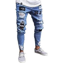 Chickwin Pantalones Vaqueros Hombre Rotos, Skinny Slim Fit Insignia Largos de Mezclilla de Cintura Baja de Pitillo Deportivos Elástico Cremallera Rota Jeans De Bolsillo (L, Azul Claro)