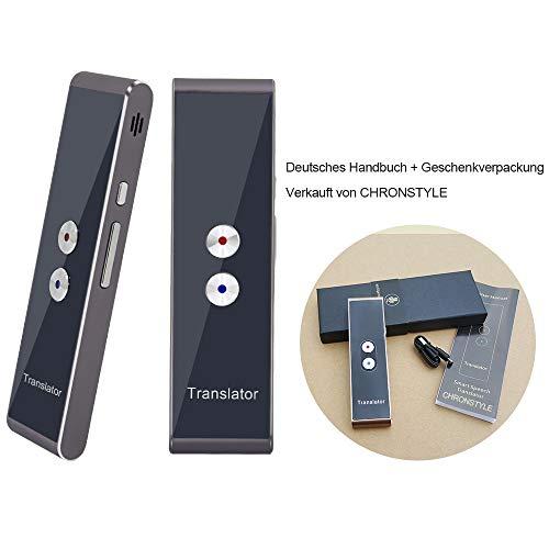 Tragbarer, intelligenter Übersetzer mit 40 Sprachen, Sprachübersetzer in Echtzeit-Sprache, Bluetooth Smart Pocket Interpreter (Silber-Grau)