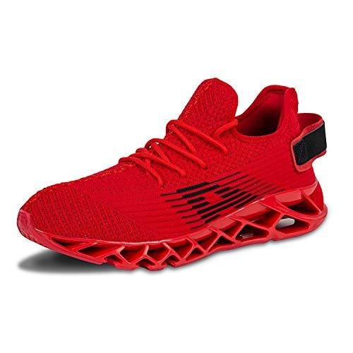 Herren Laufschuhe Fitness straßenlaufschuhe Sneaker Sportschuhe atmungsaktiv Rutschfeste Mode Freizeitschuhe (Rot,43)