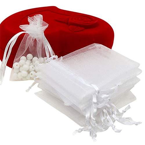 ce31dad6a UNHO 100 Piezas Bolsas de Organza para Boda Bolsitas Transparentes para  Joyas Regalos Recuerdos Caramelos Dulces Fiestas 10 x 12cm Color Blanco