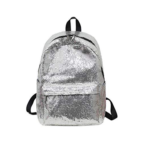 Cloom zaino, mini zaino con paillettes shining zaino da viaggio delle borsa per ragazze zaino per studenti, borsa per zaino da viaggio di scuola di moda paillettes moda (argento,1pc)