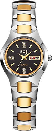 bos mujeres de lujo del analógico negro dial oro tono reloj de cuarzo 8006g