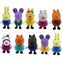 10 figuras de Peppa Pig, juguetes y amigos, paquete de figuras de familia Emily Rebecca, juguetes para niños, regalo de Navidad