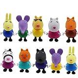 10 figuras de Peppa Pig, juguetes y amigos, paquete de figuras de...