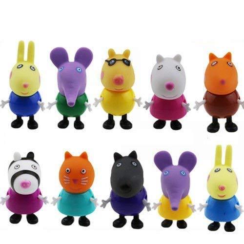 18 - 10 figuras de Peppa Pig, juguetes y amigos, paquete de figuras de familia Emily Rebecca, juguetes para niños, regalo de Navidad
