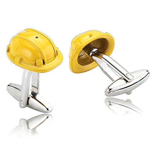 epinki-men-stainless-steel-safety-helmet-novelty-hat-design-yellow-stylish-modern-cufflinks