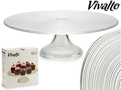 Plato redondo para tartas y pasteles de 32 cm de diámetro. Soporte y pie de cristal muy resistente. Vidrio ecológico. Fácil de limpiar. Apto para lavavajillas. Ideal para bodas, fiestas de cumpleaños, eventos, etc.