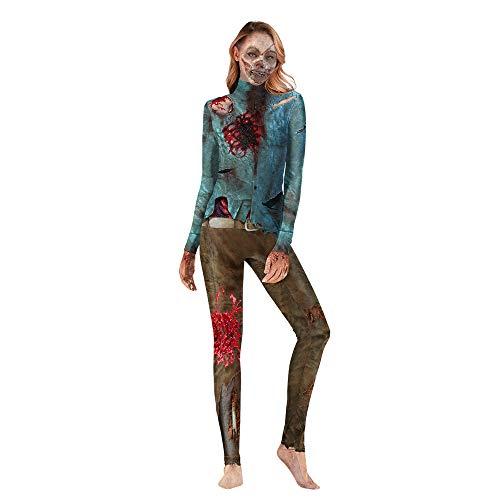 MMDYF Halloween KostüM Damen Erwachsene siamesische Kleidung Halloween, 3D-Druck Horror Blood Zombie Kostüm Cosplay - Zombie Piraten Kostüm Weiblich