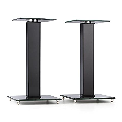 Auna BS-03S-BK (Pair of Speaker Stands Aluminium Glass MDF Cable Duct incl. Spikes)