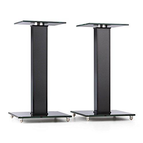 AUNA BS-03S-BK - Lautsprecher-Ständer, Boxenständer, Lautsprecher Podest, Aluminiumsäule, Getöntes Sicherheitsglas, 10 kg max. Belastbarkeit, drehbare 20 x 20 cm Glas-Stellfläche, schwarz