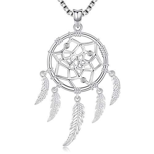 Aniu Halsketten für Frauen, Blume Traumfänger Silberkette Damen 925, Anhänger Geschenke für Freundin, Mama und Geburtstag mit 46cm Kette, Schmuck mit Geschenkbox -