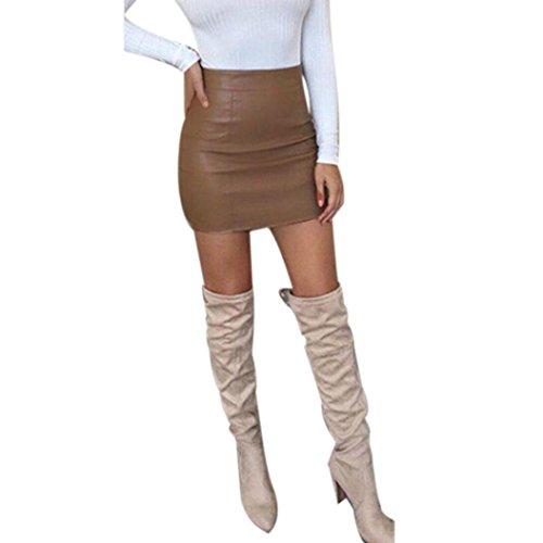 Ba Zha Hei röcke Damen Bandge Leder Hohe Taille Bleistift Bodycon Hip Short Mini Rock Minirock Damen Schwarz Mini Freizeit Stretch Kurz Hohe Taille Stretch Business Bleistift Rock (Braun, XL)