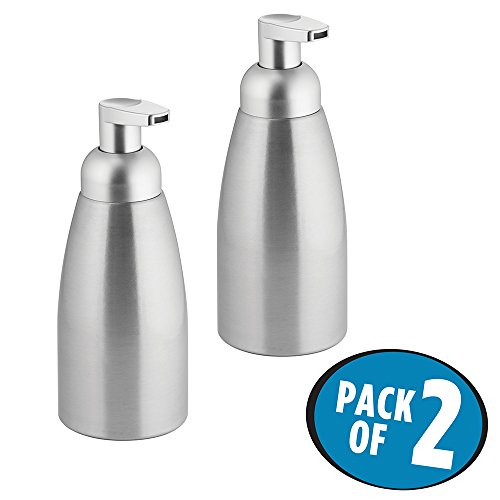 mDesign Foaming Soap Dispenser - Refillable - Elegant Pump Soap Dispenser Made of Stainless Aluminium With Pump Head Made of Robust Plastic - Bathroom Accessories - Set of 2 - Brushed Silver