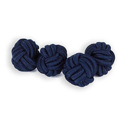 Seidenknoten Manschettenknöpfe | Knoten | Blau Dunkelblau | Stoff Seidenknötchen | Handgefertigt | Für jedes Hemd mit Umschlagmanschette Manschette | Hochzeit
