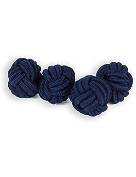 Seidenknoten Manschettenknöpfe   Knoten   Blau Dunkelblau   Stoff Seidenknötchen   Handgefertigt   Für jedes Hemd...